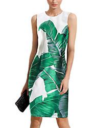 baratos -Mulheres Sofisticado Delgado Bainha Vestido - Estampado, Floral Altura dos Joelhos