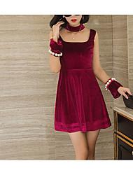 Linea A Vestito Da donna-Da giorno Cocktail Festa di fine anno scolastico Appuntamento Vintage Vari colori Colletto alla coreana Sopra il