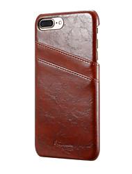 Für Geldbeutel Kreditkartenfächer Hülle Rückseitenabdeckung Hülle Einheitliche Farbe Hart Echtes Leder für AppleiPhone 7 plus iPhone 7
