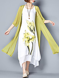 cheap -Women's Going out Plus Size Casual Loose Dress,Floral Round Neck Maxi Cotton Summer Mid Rise Inelastic Medium