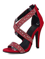 cheap -Women's Sandals Summer Comfort Club Shoes Fleece Wedding Dress Party & Evening Stiletto Heel Rhinestone Zipper Black Red Green Walking