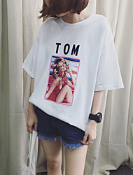 nuova estate retro della stampa a maniche corte t-shirt femminile lettera allentate le grandi iarde di cotone 6535