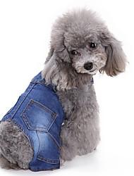 baratos -Gato Cachorro Macacão Roupas para Cães Formais Azul Ganga Ocasiões Especiais Para animais de estimação Homens Mulheres Casual Vaqueiro