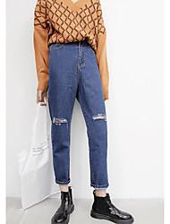 Korean House Sign 2016 autumn new Korean personality retro knee cut loose jeans