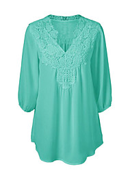cheap -Women's Plus Size Street chic Spring Summer Blouse,Solid V Neck Polyester Medium