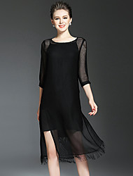 NEDO Women's Going out Casual/Daily Holiday Simple Street chic Little Black Tunic DressSolid Round Neck Midi  Sleeve Black Silk Polyester