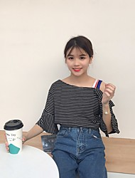 Real shot - Japanese College Wind striped short-sleeved T-shirt shirt strapless trumpet