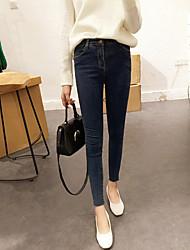 i nuovi modelli semplici di base coreano selvatici di rifilatura lavato denim stretch piedi pantaloni nove punti dei pantaloni