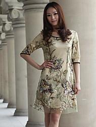 cheap -Women's Silk Loose Dress - Floral / Jacquard / Summer / Lace / Backless