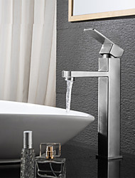 Contemporaneo Lavabo Ampio spray with  Valvola in ceramica Una manopola Un foro for  Nickel spazzolato , Lavandino rubinetto del bagno