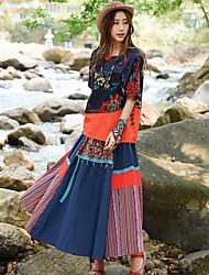 vrai coup de femme costume rétro jupe nationale de couture d'impression vent chemise + jupe à rayures coutures en deux parties
