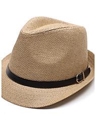 Unisex Straw Jazz Hat Fedora Hats Jazz Caps Flat Top Hat Gorras Casquette Brief Style Hat with Belt
