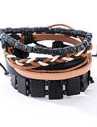 cheap -The New Vintage Cowhide Ancient Hand Woven Bracelet Cortical Layers Hand Rope Men's Bracelet Adjustable Size052