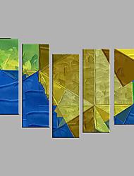 Ručně malované Abstraktní Lidé Horizontálně,Moderní evropský styl Pět panelů Plátno Hang-malované olejomalba For Home dekorace