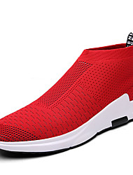 cheap -Men's Sneakers Spring Summer Fall Comfort Light Soles Tulle Outdoor Casual Flat Heel Walking Shoes Black Red Grey