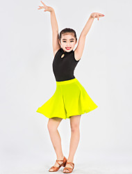 Latin Dance Outfits Women's Kid's Performance Spandex Polyester Ruffles Pattern/Print Splicing 2 Pieces Sleeveless Natural Leotard Skirt