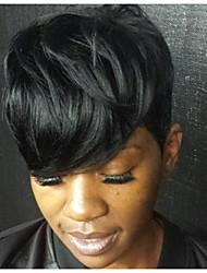Недорогие -Парики из искусственных волос Естественные волны Стиль Без шапочки-основы Парик Черный как смоль Искусственные волосы Черный Парик Короткие MAYSU