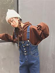 ægte skudt! Sydkorea Institut for vind små friske retro denim overalls frynsede løse brede ben bukser siameser