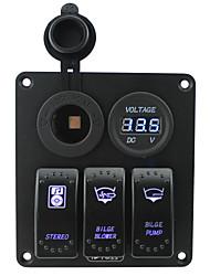 cheap -Iztoss blue led 3 gang 5pin rocker switch panel with power socket and 12V Voltmeter wiring kits DC12V/24V for Marine Boat Car Rv Vehicles Truck(BilgeB