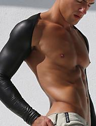 Однотонный Сексуальные платья Майка,Лакированная кожа Полиэстер