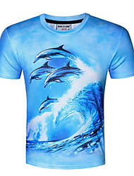 Men's Sports Casual/Daily Simple Summer T-shirt,Print Round Neck Short Sleeve Polyester Opaque