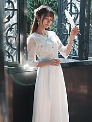 Sign spring 2017 women's ladies Slim retro embroidered fairy skirt waist lace dress women