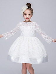 cheap -Ball Gown Short / Mini Flower Girl Dress - Organza Long Sleeves Bateau Neck with Applique by YDN