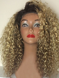 cheap -T1B/613 150% Cheap Remy Blonde Ombre Kinky Curly Human Virgin Hair Glueless Full Lace Vigin Human Wigs