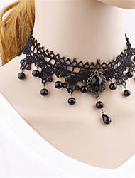cheap -Gothic Lolita Dress Necklace Vintage Inspired Black Lolita Accessories Solid Necklace Polyester
