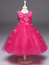 economico -vestito dalla ragazza di fiore della lunghezza del ginocchio della principessa - collo di gioiello sleeveless del polyster con applique da bflower