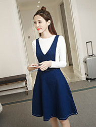 Women's Dailywear Daily School Date Sexy Cute A Line Dress,Mixed Color Sexy Lady Crew Neck Knee-length Long Sleeves N/A Spring SummerHigh
