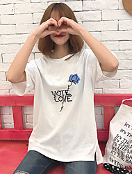 Real shot Korean English Rose embroidered T