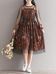Lose lang-sleeved Blumen Chiffon Kleid Rock langen Abschnitt der Schlinge Mesh Schleier Stück echten Schuss