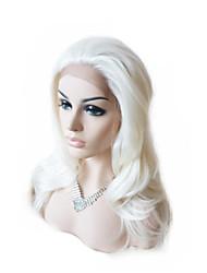 abordables -Mujer Pelucas sintéticas Encaje Frontal Ondulado Natural Blanco Entradas Naturales Peluca natural Peluca de Halloween Peluca de carnaval