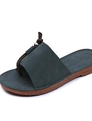 Da donna Pantofole e infradito Sandali Comoda PU (Poliuretano) Primavera Estate Casual Piatto Nero Verde Cachi Piatto