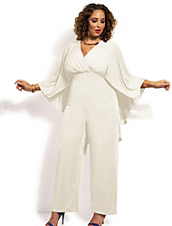 cheap -Women's Plus Size Batwing Sleeve Jumpsuit - Solid High Rise V Neck