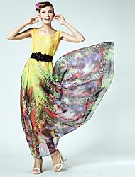 vestir esfregar grandes estaleiros vestido solto alimentação de tecido de Tencel com especiais correia