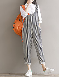 cheap -Women's High Waist Inelastic Loose Pants,Classic & Timeless Stripe N/A Spring Fall