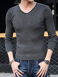 Slim Men solid color long-sleeved V-neck sweater knit sweater coat primer shirt pure white skinny men