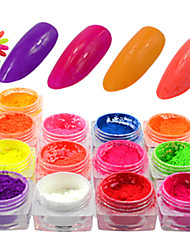 cheap -13Bottle/Set Colorful Neon Effect Nail Fluorescent Glitter Power Beautiful Nail Art Neon Pigment Power Nail Beauty DIY Design Nail Decoration YE01-13