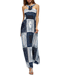 cheap -Women's Casual/Daily Work Simple Sheath Lace Dress,Solid Print Strapless Maxi Sleeveless Polyester All Seasons Low Rise Micro-elastic