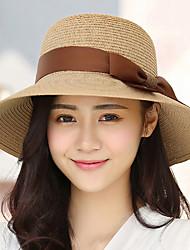cheap -Women's Straw Sun Hat,Casual Solid Summer Beige Fuchsia Khaki