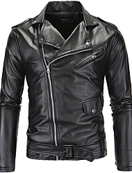 cheap -Men's Party Daily Club Simple Casual Street chic Spring Fall Leather Jacket,Solid Notch Lapel Long Sleeve Short PU