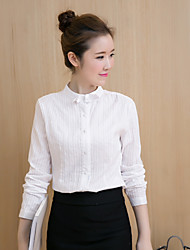 Sign spot for 17 years in early spring new Women Korean Slim white cotton jacquard bow shirt