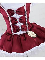 Недорогие -Собака Платья Одежда для собак Принцесса Темно-красный Красный Темно-синий Хлопок Костюм Назначение Лето Муж. Жен. На каждый день Мода