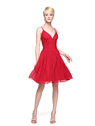 cheap -A-Line Spaghetti Straps Knee Length Chiffon Bridesmaid Dress with Pleats by LAN TING BRIDE®