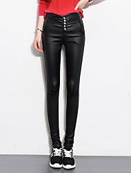 Femme Couleur Pleine Bureau/Carrière Taille Haute strenchy Skinny Pantalon,Crochet Couleur unie Couleur unie