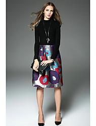 preiswerte -Damen A-Linie Kleid-Freizeitskleidung Moderne Andere Rundhalsausschnitt Knielang Langarm N / A Herbst Hohe Hüfthöhe Dehnbar Mittel