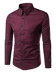 cheap -Men's Daily Formal Work Casual All Seasons Shirt,Solid Square Neck Long Sleeves Cotton Medium