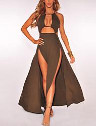 cheap -Women's Club Holiday Sexy Street chic Sheath Dress,Solid Halter Maxi Sleeveless Polyester Spring Summer High Rise Micro-elastic Medium